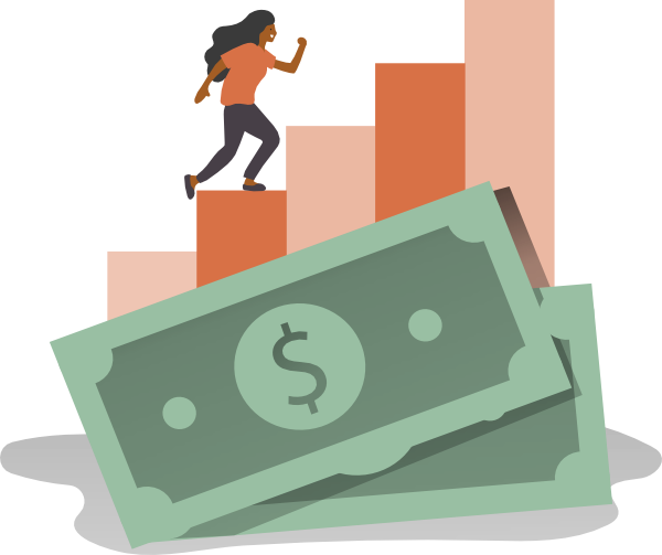 Illustration of a woman running on top of money