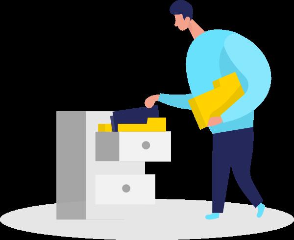 Illustration of a guy filing paperwork